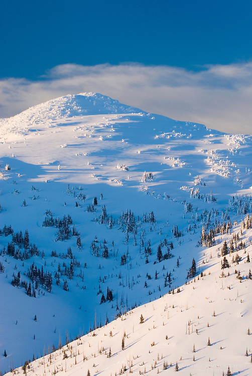 Winter sunset over the summit of Brothers Mountain, Manning Provincial Park British Columbia Canada