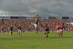 Mayo&rsquo;s Patrick Durcan claims a kick-out during the qualifer clash against Cork.<br /> Pic Conor McKeown