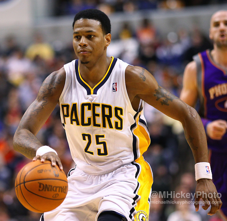 Feb. 27, 2011; Indianapolis, IN, USA; Indiana Pacers guard Brandon Rush (25) brings the ball up court against the Phoenix Suns at Conseco Fieldhouse. Phoenix defeated Indiana 110-108. Mandatory credit: Michael Hickey-US PRESSWIRE