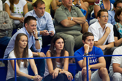 Aleksander Sekulic, Matej Avanzo and Jaka Lakovic with his girlfriend Elena Boada  during basketball match between National teams of Latvia and Slovenia in Qualifying Round of U20 Men European Championship Slovenia 2012, on July 16, 2012 in Domzale, Slovenia. Slovenia defeated Latvia 69-62. (Photo by Vid Ponikvar / Sportida.com)