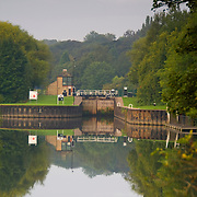 Sprotbrough Lock on the River Don in Yorkshire. A coversion of an old canal lock lock in to a modern one.
