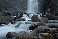 ÷xar·rfoss is a waterfall in fiingvellir National Park, Iceland. It flows from the river ÷xar· over the Almannagj· canion.