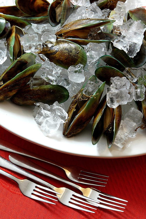 Green-lipped mussels rest amongst ice ready for a hot summer's day lunch, New Plymouth, May 23, 2006. Credit:SNPA / Rob Tucker