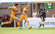 Dundee&rsquo;s Faissal El Bakhtaoui races away from Motherwell&rsquo;s Richard Tait and Ben Heneghan - Motherwell v Dundee in the Ladbrokes Scottish Premiership at Fir Park, Motherwell. Photo: David Young<br /> <br />  - &copy; David Young - www.davidyoungphoto.co.uk - email: davidyoungphoto@gmail.com