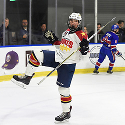 BUFFALO, NY - SEP 20,  2017: Ontario Junior Hockey League Governors Showcase game between the Toronto Jr. Canadiens and Wellington Dukes, Declan Carlile #2 of the Wellington Dukes celebrates the goal during the second period. <br /> (Photo by Andy Corneau / OJHL Images)