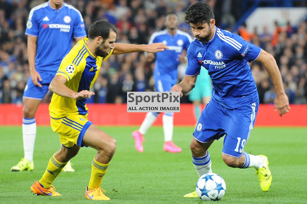 Chelseas Diego Costa and Maccabi Tell-Avivs Yuval Shpungin in action during the Chelsea v Maccabi Tell-Aviv champions league match in the group stage.