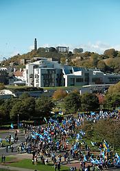 All Under One Banner Independence March, Edinburgh, Saturday 6th October 2018<br /> <br /> Pictured: Crowd at Scottish Parliament <br /> <br /> (c) Aimee Todd   Edinburgh Elite media