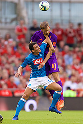 DUBLIN, REPUBLIC OF IRELAND - Saturday, August 4, 2018: Liverpool's Nathaniel Phillips and Napoli's Roberto Inglese during the preseason friendly match between SSC Napoli and Liverpool FC at Landsdowne Road. (Pic by David Rawcliffe/Propaganda)