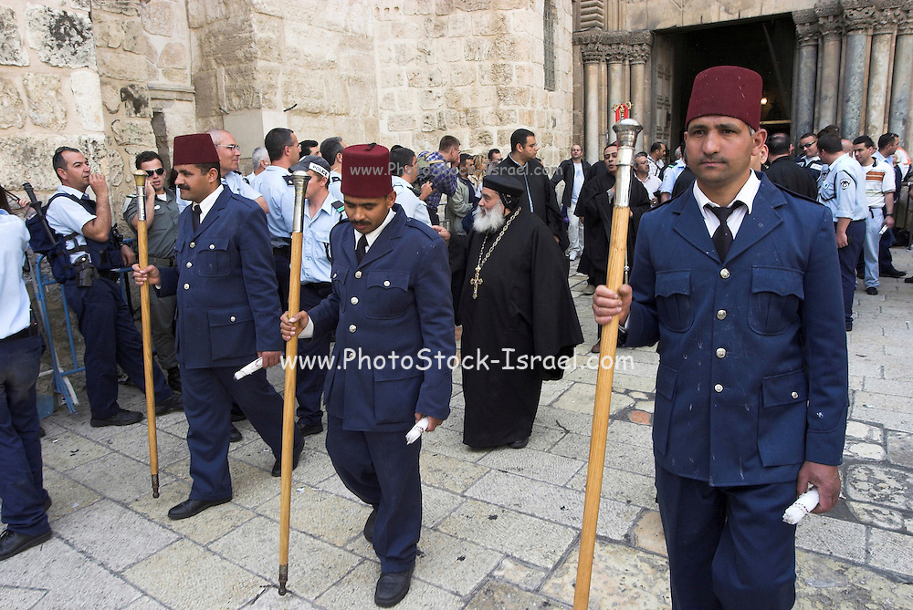 Israel, Jerusalem, Holy light ceremony at the Church of the Holy holy sepulchre Saturday Easter 2005