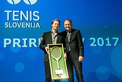 Miha Rakar of BTC and  Marko Umberger during Slovenian Tennis personality of the year 2017 annual awards presented by Slovene Tennis Association Tenis Slovenija, on November 29, 2017 in Siti Teater, Ljubljana, Slovenia. Photo by Vid Ponikvar / Sportida