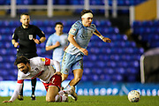 Callum O'Hare of Coventry City (17) beats Matt Crooks of Rotherham United (17) to the ball during the EFL Sky Bet League 1 match between Coventry City and Rotherham United at the Trillion Trophy Stadium, Birmingham, England on 25 February 2020.