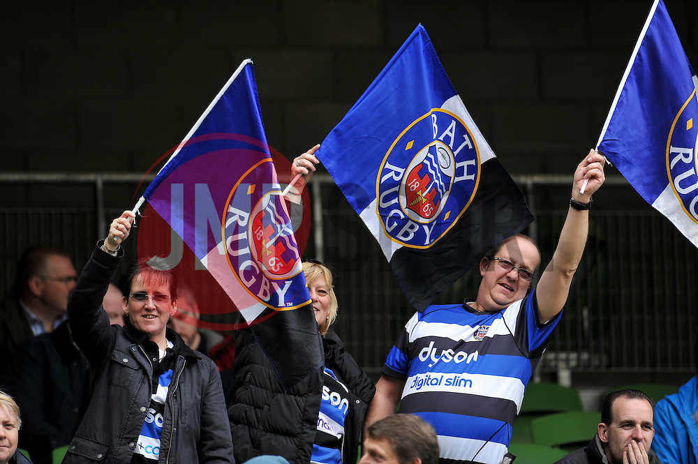 A general view of Bath Rugby supporters - Photo mandatory by-line: Patrick Khachfe/JMP - Mobile: 07966 386802 04/04/2015 - SPORT - RUGBY UNION - Dublin - Aviva Stadium - Leinster Rugby v Bath Rugby - European Rugby Champions Cup