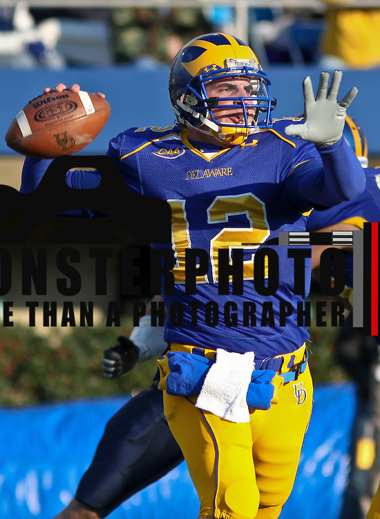 Nov. 22, 2008 NEWARK, DE: Former Delaware Quarterback Lou Ritacco #12 during a 2008 Season game against Villanova.<br /> <br /> Villanova ran up 317 yards on the ground led by Aaron's Ball's 105 yards and two touchdowns as the Wildcats downed Delaware 21-7 Saturday afternoon at Delaware Stadium in the Blue Hens' final football game of the 2008 season. <br /> <br /> Delaware, which got its only points on a 34-yard scoring strike from Robby Schoenhoft to Martwain Johnston (above) in the final quarter, closed out a disappointing, injury-plagued season with a record of 4-8.