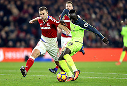 Sadio Mane of Liverpool shoots at goal past Ben Gibson of Middlesbrough - Mandatory by-line: Robbie Stephenson/JMP - 14/12/2016 - FOOTBALL - Riverside Stadium - Middlesbrough, England - Middlesbrough v Liverpool - Premier League