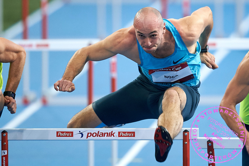 Artur Noga from Poland competes in men's 60 meters hurdles competition during athletics meeting Pedro's Cup at Atlas Arena in Lodz, Poland.<br /> <br /> Poland, Lodz, February 17, 2015<br /> <br /> Picture also available in RAW (NEF) or TIFF format on special request.<br /> <br /> For editorial use only. Any commercial or promotional use requires permission.<br /> <br /> Adam Nurkiewicz declares that he has no rights to the image of people at the photographs of his authorship.<br /> <br /> Mandatory credit:<br /> Photo by &copy; Adam Nurkiewicz / Mediasport