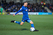 AFC Wimbledon attacker Shane McLoughlin (19) passing the ball during the EFL Sky Bet League 1 match between AFC Wimbledon and Doncaster Rovers at the Cherry Red Records Stadium, Kingston, England on 14 December 2019.