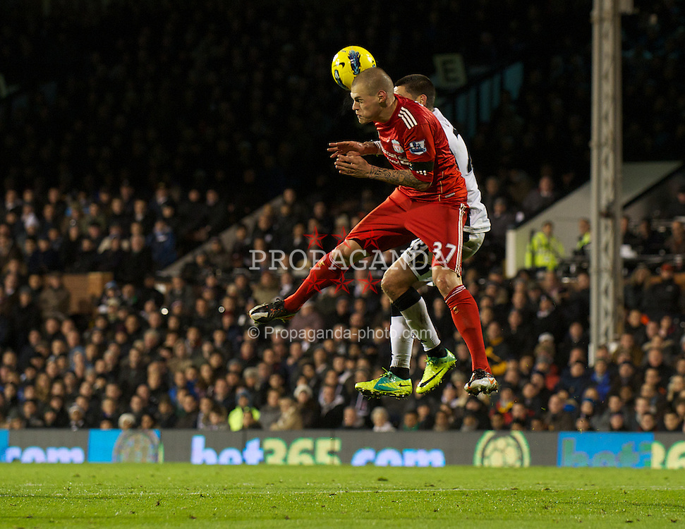 LONDON, ENGLAND - Monday, December 5, 2011: Liverpool's Martin Skrtel in action against Fulham during the Premiership match at Craven Cottage. (Pic by David Rawcliffe/Propaganda)