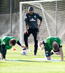 11.01.2014, Trainingsplatz, Jerez de la Frontera, ESP, 1. FBL, SV Werder Bremen, Trainingslager, im Bild Robin Dutt (Cheftrainer SV Werder Bremen) verfolgt das Trainingsgeschehen // Robin Dutt (Cheftrainer SV Werder Bremen) verfolgt das Trainingsgeschehen during Trainingsession of German Bundesliga Club SV Werder Bremen at Trainingsplatz in Jerez de la Frontera, Spain on 2014/01/11. EXPA Pictures © 2014, PhotoCredit: EXPA/ Andreas Gumz<br /> <br /> *****ATTENTION - OUT of GER*****