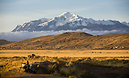 Mt. Ancohuma in the northern Cordillera Real as seen from the Bolivian Altiplano at sunset.