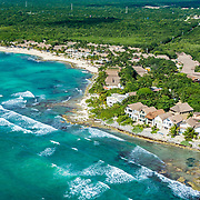 Aerial view of Paamul Hotel and Cabanas. Riviera Maya. Mexico.