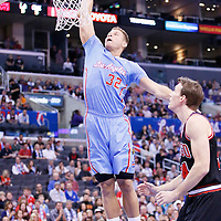 24 November 2013: Los Angeles Clippers power forward Blake Griffin (32) dunks the ball on Chicago Bulls small forward Mike Dunleavy (34) during the Los Angeles Clippers 121-82 victory over the Chicago Bulls at the Staples Center, Los Angeles, California, USA.