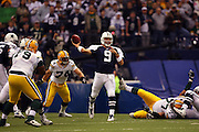 IRVING, TX - NOVEMBER 29: Quarterback Tony Romo #9 of the Dallas Cowboys unloads a pass during the game against the Green Bay Packers on November 29, 2007 at Texas Stadium in Irving, Texas. The Cowboys defeated the Packers 37-27. ©Paul Anthony Spinelli *** Local Caption *** Tony Romo