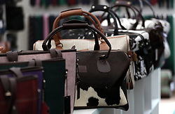 Designer hand bags in a stand at Cheltenham on Gold Cup Day