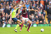 Derby County defender Craig Forsyth (3) tackles Aston Villa defender Ahmed Elmohamady (27) during the EFL Sky Bet Championship match between Aston Villa and Derby County at Villa Park, Birmingham, England on 28 April 2018. Picture by Jon Hobley.