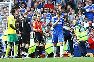 Fernando Torres of Chelsea walks away concerned as Didier Drogba lies unconscious during the Barclays Premier League match at Stamford Bridge stadium, London...Picture by Paul Chesterton/Focus Images Ltd.  07904 640267.27/8/11