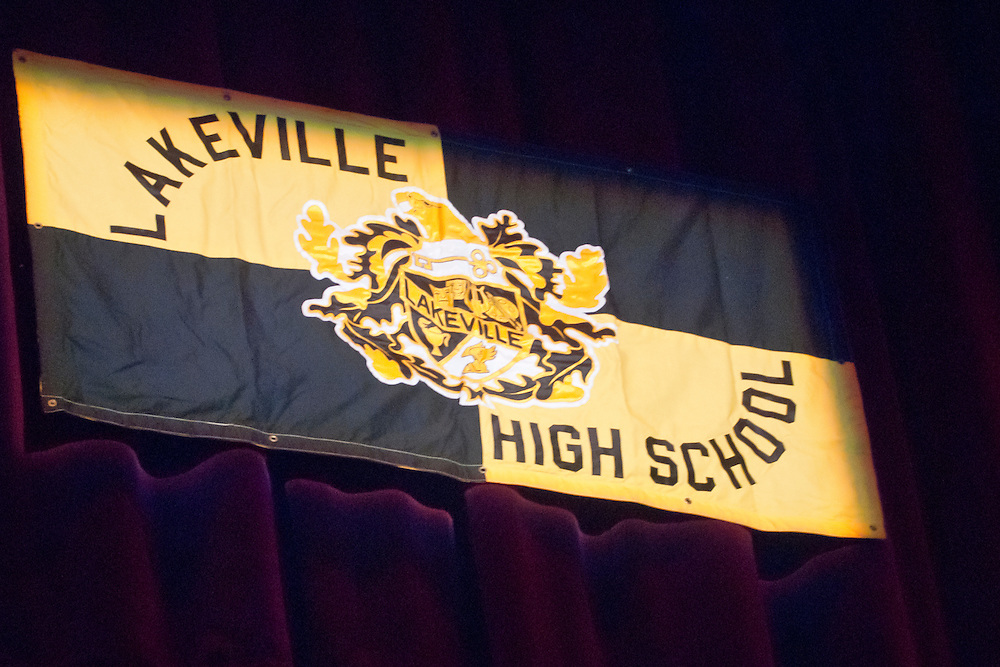 Lathan Goumas | MLive.com..The LakeVille Memorial High School banner hangs during the LakeVille Memorial High School commencement ceremony at the Whiting Theater in Flint, Mich. on Wednesday June 6, 2012.