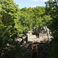 Ball court at the Mayan ruins at Coba.