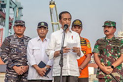 November 2, 2018 - North Jakarta, Jakarta, Indonesia - Jakarta, Indonesia, 02 November 2018 : Indonesian President : JOKOWIDODO visit Tanjung Priok Harbour for the second time to give brief with Indonesian Search and Rescue team with millitary help in processing of the finding of the victim of the plane crash, fuselage, and also one black box at karawang sea. (Credit Image: © Donal Husni/ZUMA Wire)