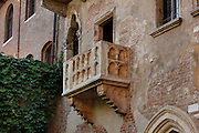 Detail of balcony, 1930s, Juliet's House, 14th century, Verona, Italy. Shakespeare's play 'Romeo and Juliet' is based around two feuding 14th century Veronese families. In the 1930s a balcony was added to this 14th century house which was opened to the public as 'Juliet's House'. Picture by Manuel Cohen.