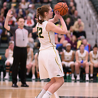 4th year forward Christina McCusker (12) of the Regina Cougars in action during the Women's Basketball Playoff Game on February  15 at Centre for Kinesiology, Health and Sport. Credit: Arthur Ward/Arthur Images