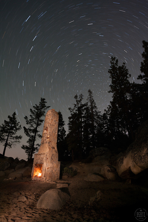 """Chimney Beach at Night"" - Photograph at night of the chimney at Chimney Beach, Lake Tahoe. A long exposure and light painting with a flashlight was used to achieve the effect."