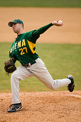 Siena Saints pitcher Matt Moberg (27).  The #16 ranked Virginia Cavaliers baseball team defeated the Siena Saints 17-2 at the University of Virginia's Davenport Field in Charlottesville, VA on February 29, 2008.