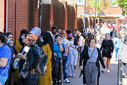 © Licensed to London News Pictures. 15/06/2020. London, UK. Shoppers queue outside Primark in Wood Green, north London as non-essential stores reopen after three months of COVID-19 lockdown. Photo credit: Dinendra Haria/LNP