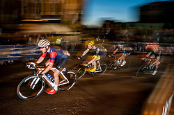 © Licensed to London News Pictures. 06/06/2015. London, UK. Elite men riders in the Santini Elite Criterium, as the 9th edition of the award winning Jupiter London Nocturne hits the streets of Farringdon.  The event brings the best criterium racing to the fast and technical race circuit around Smithfield Market, with a mix of elite and amateur races for male and female riders. Photo credit : Stephen Chung/LNP