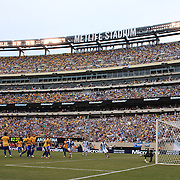 Lionel Messi, Argentina, has a free kick saved by Rafael Cabral, Brazil, during the Brazil V Argentina International Football Friendly match at MetLife Stadium, East Rutherford, New Jersey, USA. 9th June 2012. Photo Tim Clayton