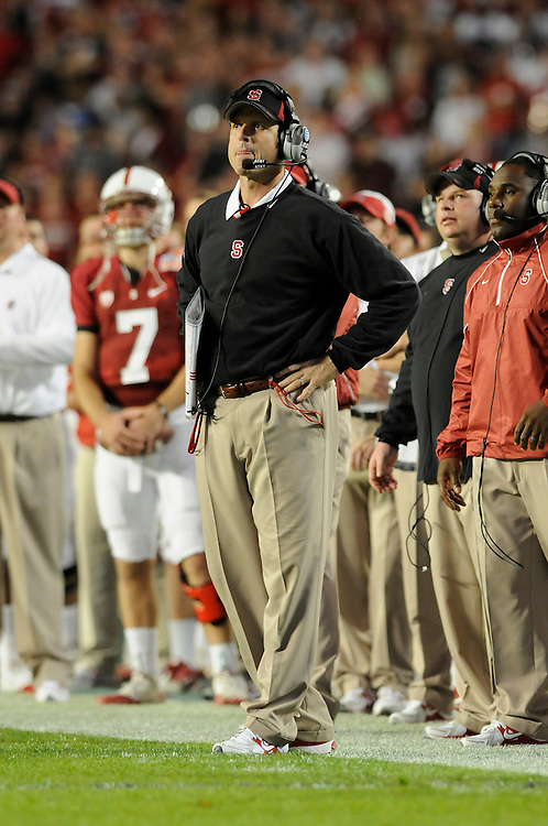 January 3, 2011: Head coach Jim Harbaugh of the Stanford Cardinal in action during the NCAA football game between the Stanford Cardinal and the Virginia Tech Hokies at the 2011 Orange Bowl in Miami Gardens, Florida. Stanford led Virginia Tech 13-12 at the half.