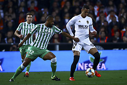February 28, 2019 - Valencia, Spain - Sidnei of Real Betis Balompie (L) and Rodrigo Moreno of Valencia CF During Spanish King La Copa match between  Valencia cf vs Real Betis Balompie Second leg  at Mestalla Stadium on February 28, 2019. (Photo by Jose Miguel Fernandez/NurPhoto) (Credit Image: © Jose Miguel Fernandez/NurPhoto via ZUMA Press)