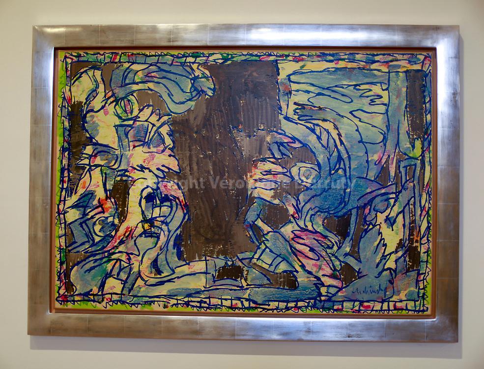 PIerre Alechinsky, bruxelles, 1927, Verres et trompettes, acrylique sur papier,  1981, Musée des Beaux-Arts, Bilbao, Pays Basque, Espagne // Museum of fine arts, Bilbao, Basque country, Spain