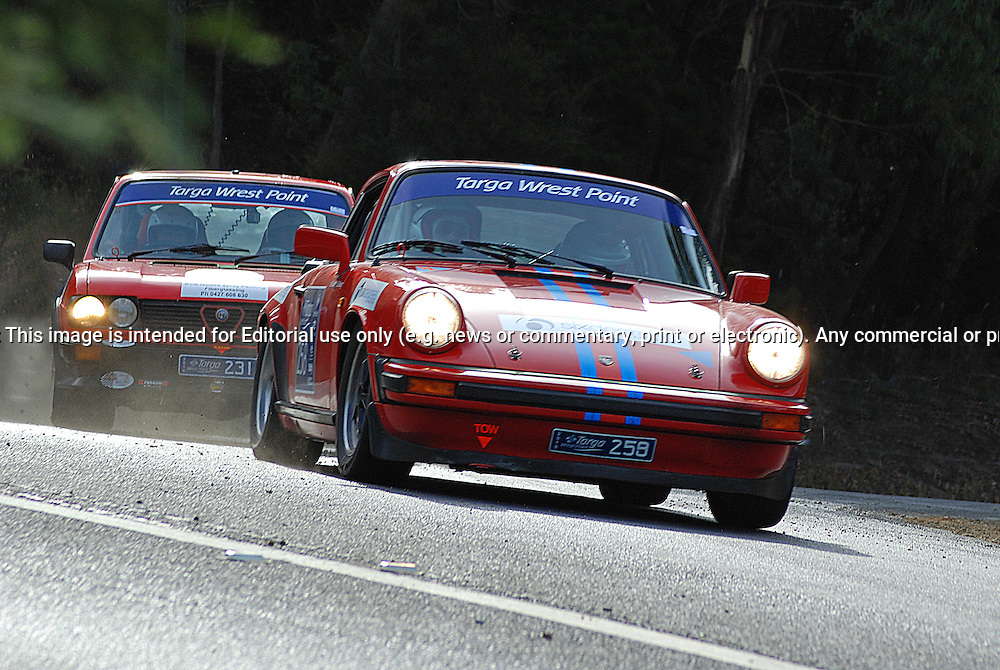 258 Matthew Read & David Young..1981 Porsche 911 SC.Day 1.Targa Wrest Point 2010.Southern Tasmania.30th of January 2010.(C) Sarah Biggin.Use information: This image is intended for Editorial use only (e.g. news or commentary, print or electronic). Any commercial or promotional use requires additional clearance.