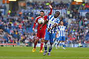 Brighton winger, Elvis Manu wins the ball during the Sky Bet Championship match between Brighton and Hove Albion and Cardiff City at the American Express Community Stadium, Brighton and Hove, England on 3 October 2015. Photo by Phil Duncan.