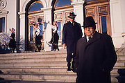 November 17, 1989. Sofia, Bulgaria. Government officials leaving a pro-Communist rally promoting reforms within the system in front of the parliament. (Photo Heimo Aga)