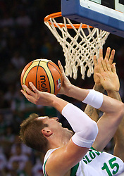 Primoz Brezec of Slovenia during to the Preliminary Round - Group B basketball match between National teams of USA and Slovenia at 2010 FIBA World Championships on August 29, 2010 at Abdi Ipekci Arena in Istanbul, Turkey.  (Photo by Vid Ponikvar / Sportida)