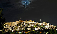 A view of the Parthenon at night in Athens.