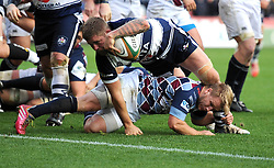 Bristol Rugby's Hooker, Chris Brooker scores a try - Photo mandatory by-line: Dougie Allward/JMP - Mobile: 07966 386802 - 23/11/2014 - SPORT - Rugby - Bristol - Ashton Gate - Bristol Rugby v Rotherham Titans - Greene King IPA Championship