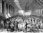 The Railway Carriage Company's works, Oldbury. The forge, showing mass production of components at about 40 identical forges. Wood engraving 1869