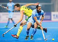 BHUBANESWAR (India) -  Hero Champions Trophy hockey men. Match for bronze. Australia vs India.  Sardar Singh of India with Flynn Ogilvie PHOTO KOEN SUYK
